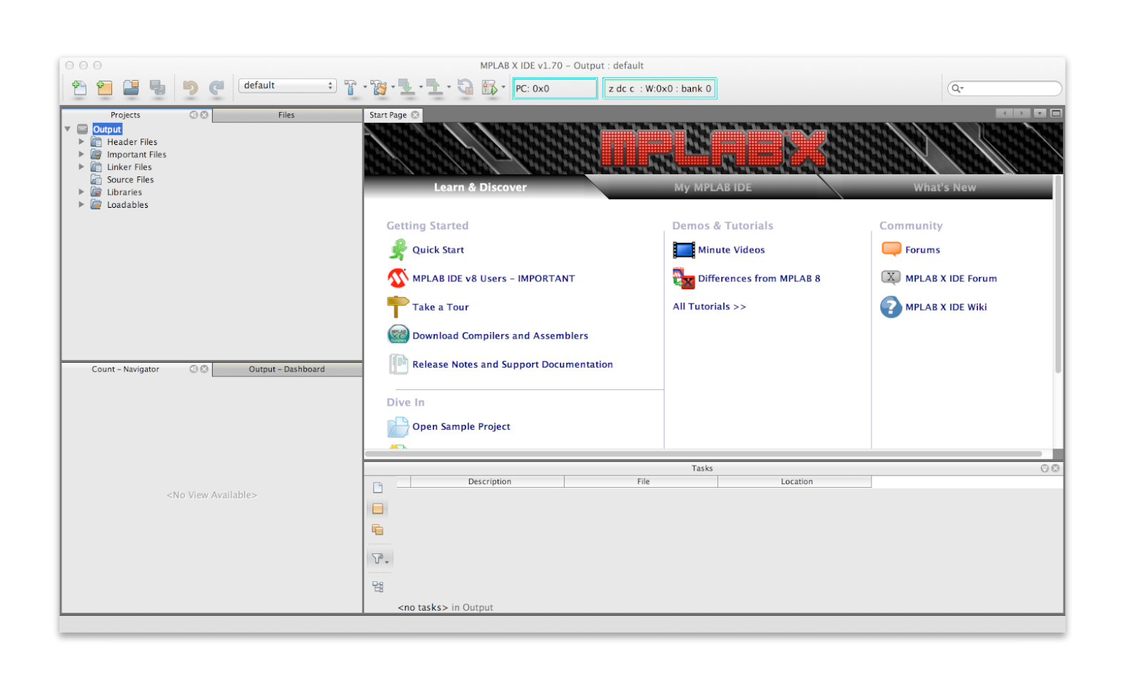 MPLAB X Output Project overview screen