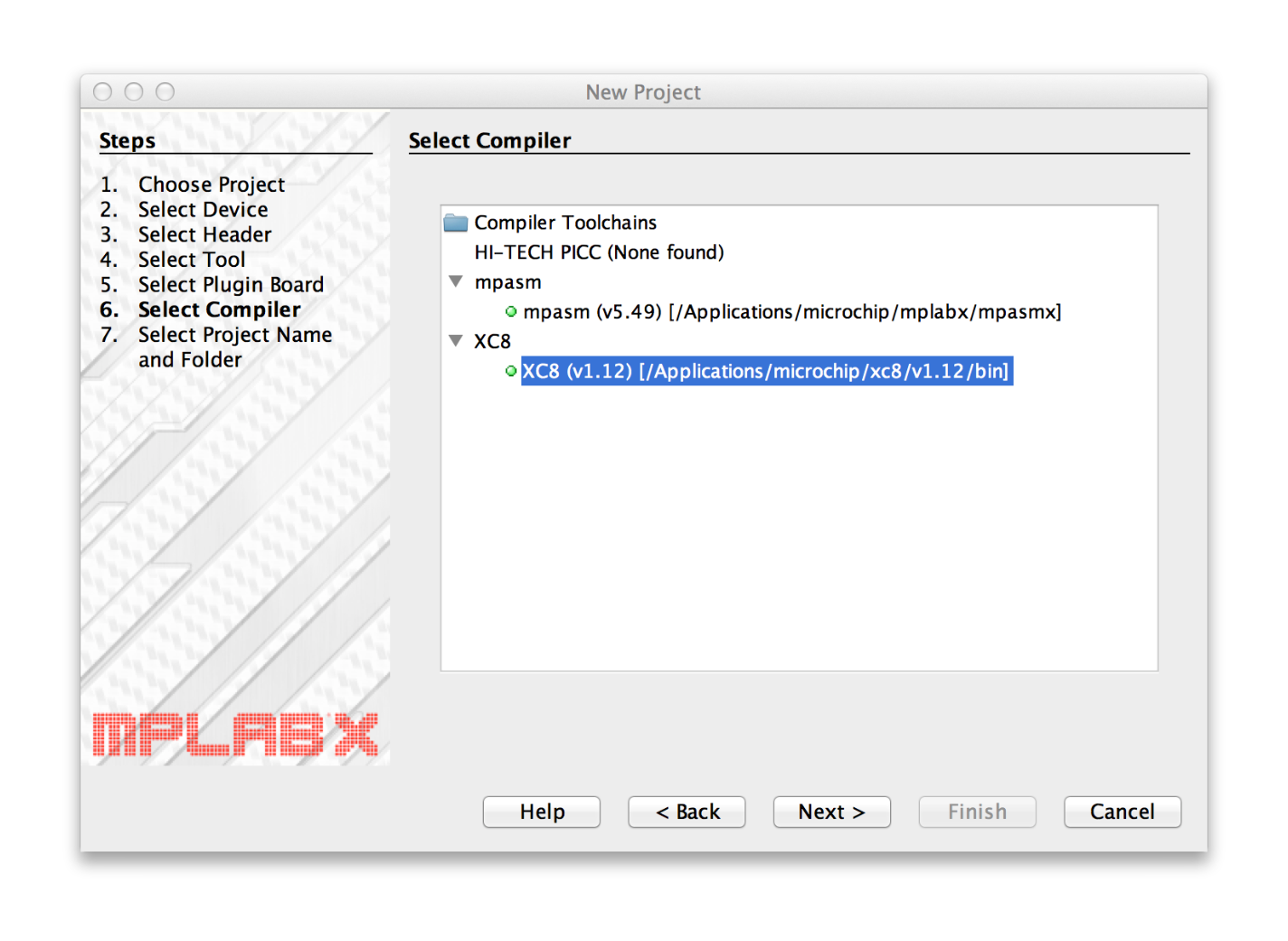 MPLAB X Select Compiler window